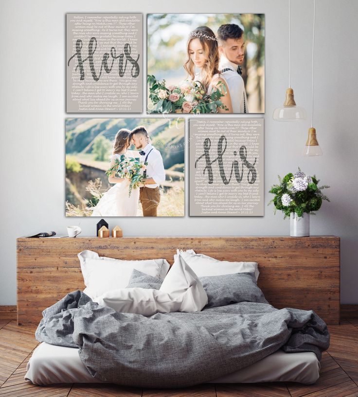 Wedding Vows Mr and Mrs, Custom Vows, His and Hers Vows, Set of 4 Canvases, Wedd…