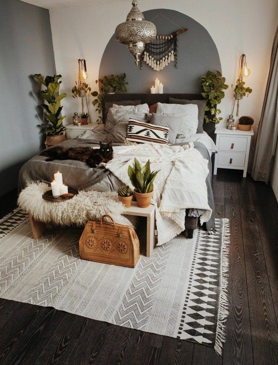 bedroom home decor boho scandi style