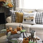 checkered fall pillow. Rustic autumn home decor for your farmhouse. Look ...