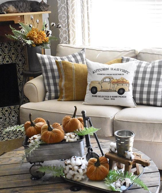 checkered fall pillow. Rustic autumn home decor for your farmhouse. Look …