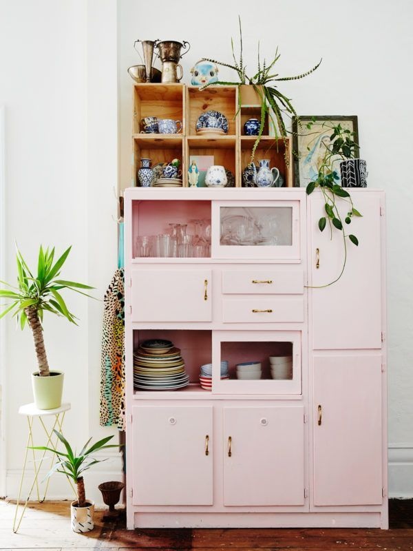 A pastel pink kitchen cabinet in Peter and Paula Mills home in Melbourne on The …