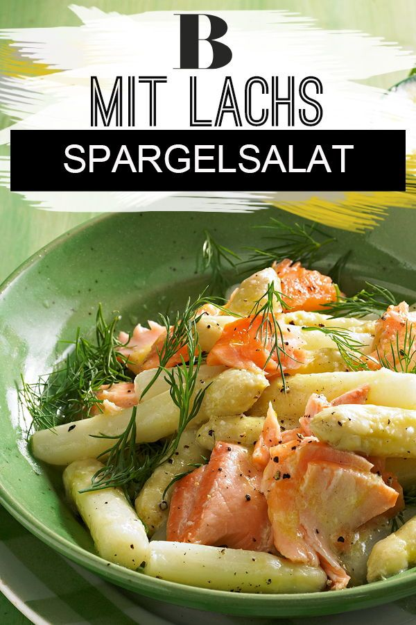 Asparagus salad with salmon. Refined seasoned with fresh dill, lemon and s …