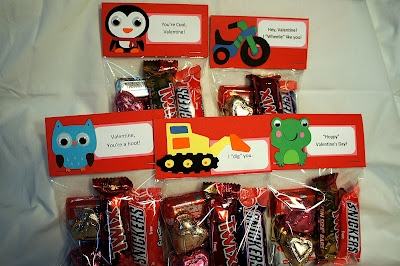 Cute Valentine goodie bags I made for my son's pre-school class.