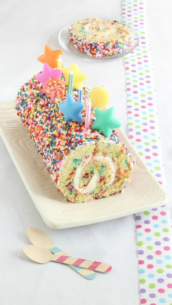 Delicious confetti cake roll recipe | Desserts | Dessert recipes | Desserts easy…