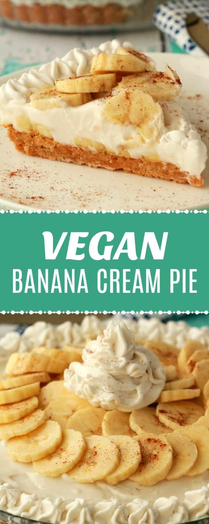 Deliciously creamy vegan banana cream pie. A golden oreo cookie crust topped wit…
