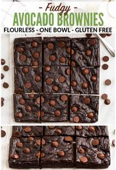 Fudgy Avocado Brownies. Ultra moist and healthy with double the chocolate! Glute…