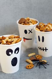 Ghost party cups/snack cups. HEALTHY HALLOWEEN TREATS and SNACKS. #halloweenpart…