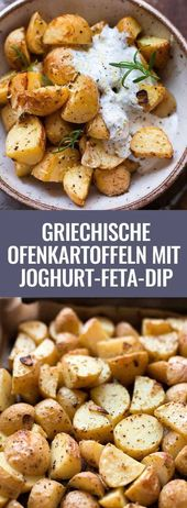 Greek baked potatoes with yoghurt feta dip. This quick recipe is supe …