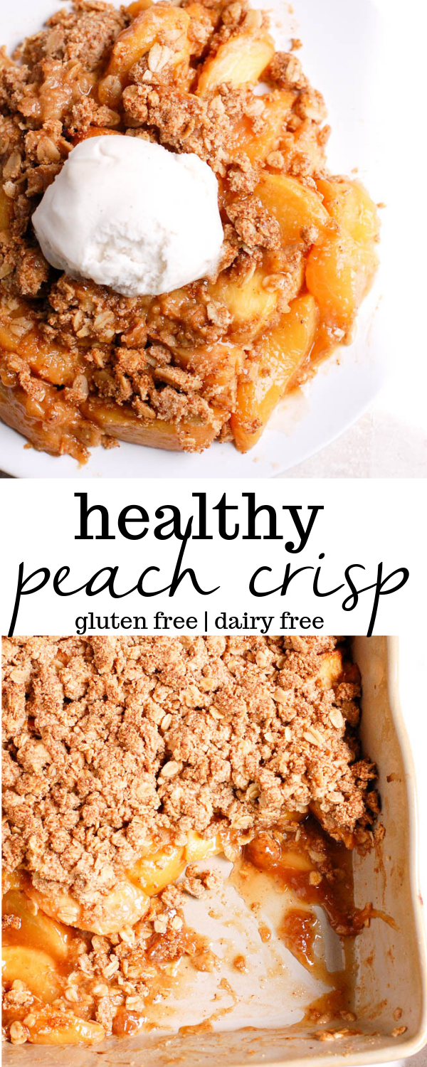 Healthy peach crisp is an easy, gluten-free dessert recipe using oats, almond fl…