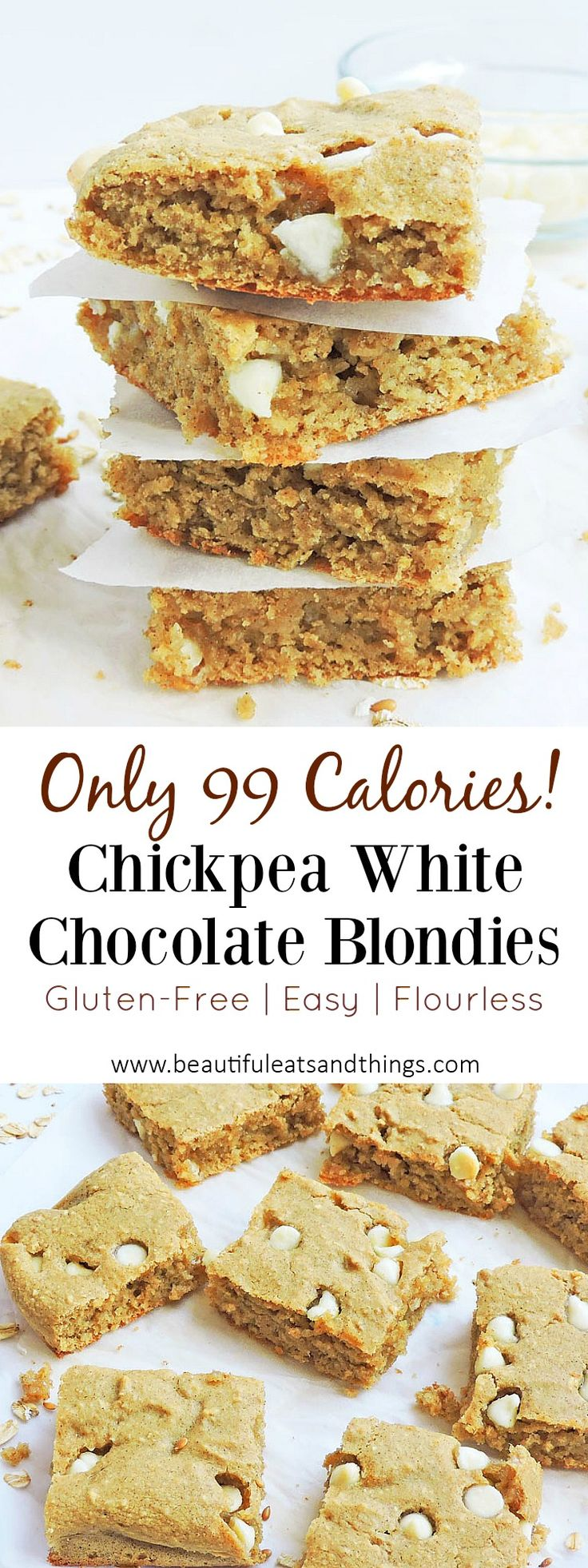 ONLY 99 calories!! These Flourless Chickpea White Chocolate Blondies are a great…