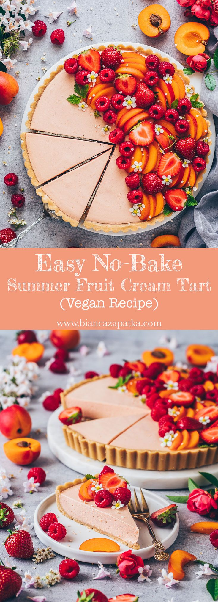 Summer fruit tart recipe. Easy vegan no-bake tart pie made of simple cookie crus…
