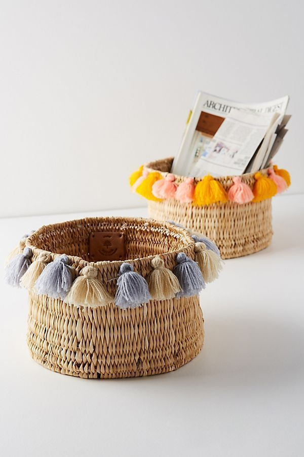 Tassel basket – ideal for your living room or bedroom! #Wohnkultur
