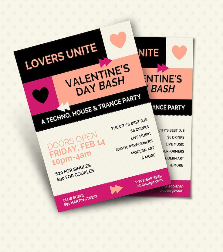 Valentine's Day Electro Party Flyer Template – Promote A Holiday Event And M…