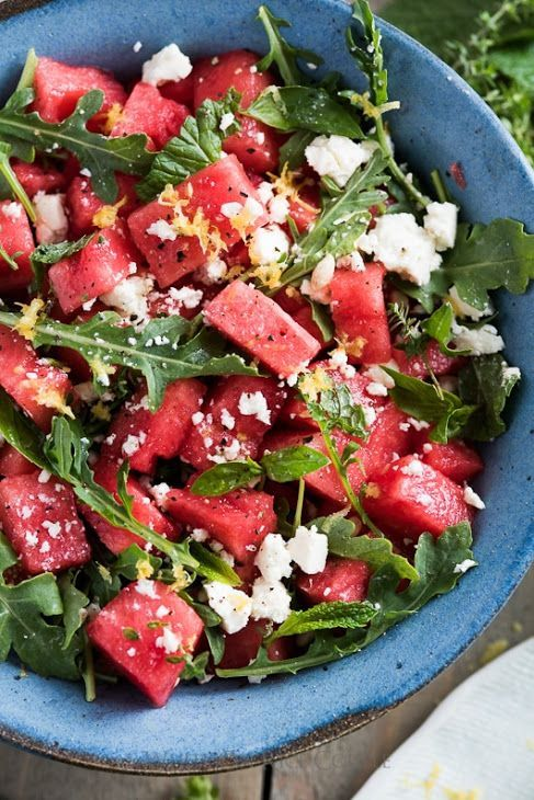 Watermelon Salad with Arugula, Feta, & Fresh Herbs with Watermelon, Olive Oil, L…