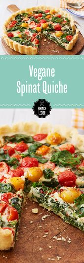 We see red! And yellow! And green! The vegan quiche with spinach, cherry toma …
